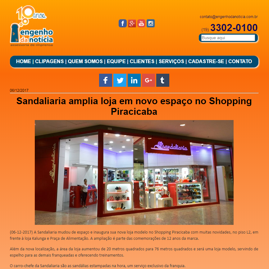Sandaliaria é destaque no site Engenho da Noticia