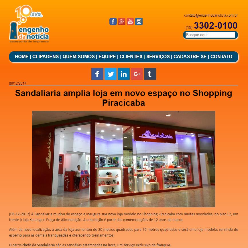 Sandaliaria é destaque no site Engenho da Noticia
